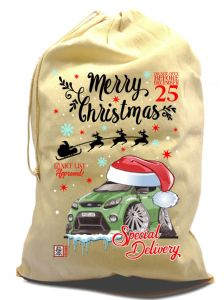 X-Large Cotton Drawcord Koolart Christmas Santa Sack Stocking Gift Bag With Green Focus RS Image